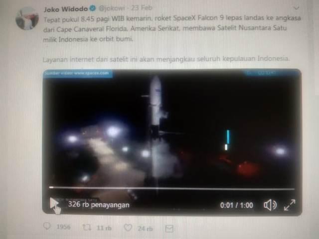 Satelit Nusantara Satu Resmi Diluncurkan, Jokowi Sambut Baik