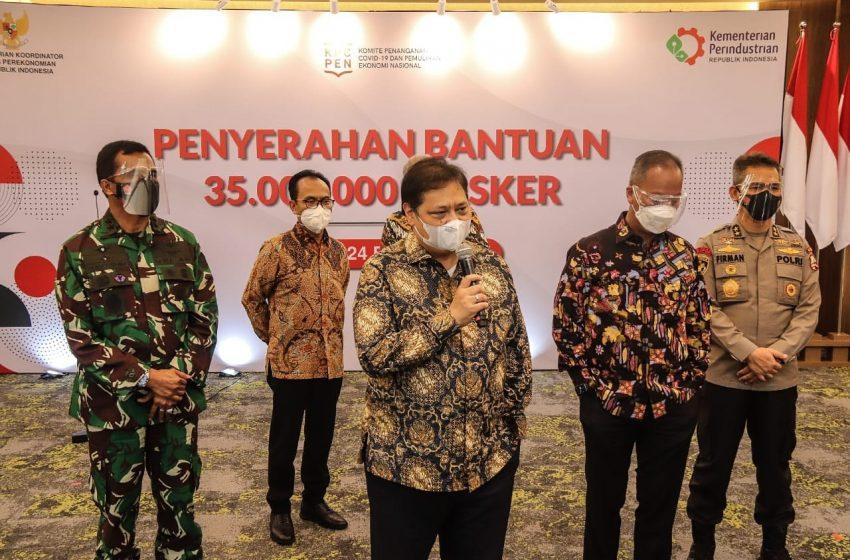 Menko Perekonomian: Pemerintah Distribusikan 35 Juta Masker untuk Masyarakat