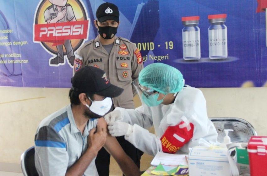 Vaksinasi Massal Covid-19 Nasional di Wilayah Polda Metro Jaya, Polres Kepulauan Seribu Gelar Kegiatan Kepada Warga