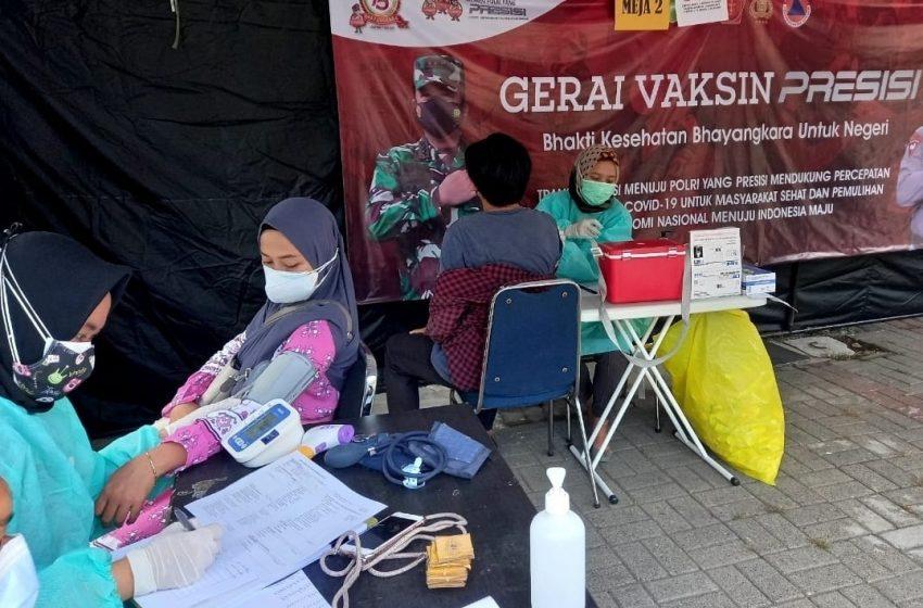 Warga Masyarakat Jalani Suntik Vaksin di Gerai Vaksin Presisi Polres Kepulauan Seribu