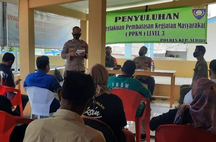Berikan Penyuluhan PPKM Level 3, Polres Kep Seribu Hampiri Warga Pulau Lancang