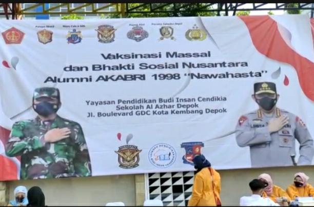 """Serbuan Vaksinasi dan Baksos Nusantara """"Nawahasta"""" AKABRI 98 di Pusatkan di Depok"""
